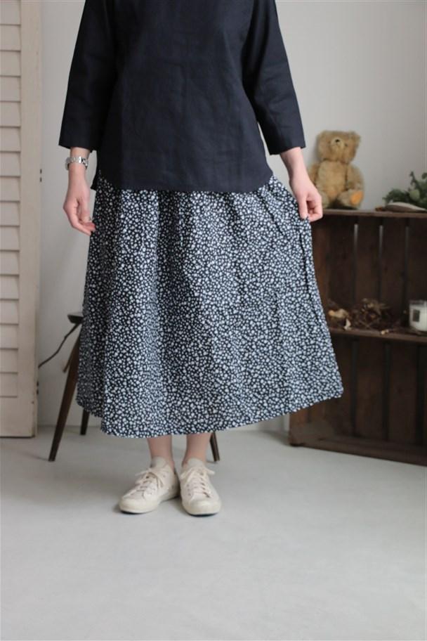 G181 Gauze オリジナルプリントギャザーロングスカート 2色