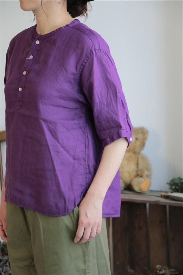 82759 prit 21/1フレンチリネン6分袖バンドカラープルオーバーシャツ 4色