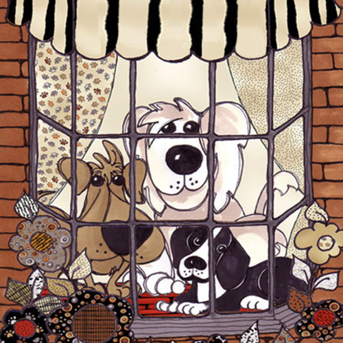 【Loralie Designs】- Doggies in the Window Panel - 60x110cm (ULH-080)