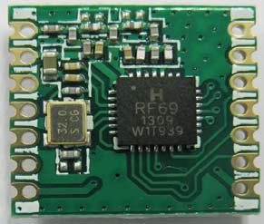微弱無線送受信モジュールRFM69C(SMT、SPIインタフェース)