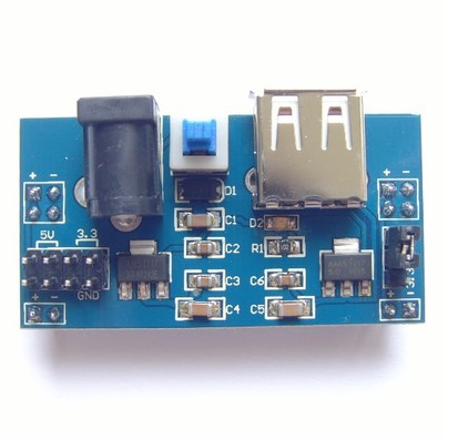 5V/3.3V電源出力モジュール(USB給電可、ユニバーサル基板電源)