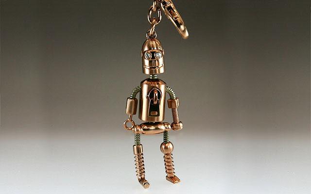 ラインストーン付きロボットキーホルダー ブロンズ
