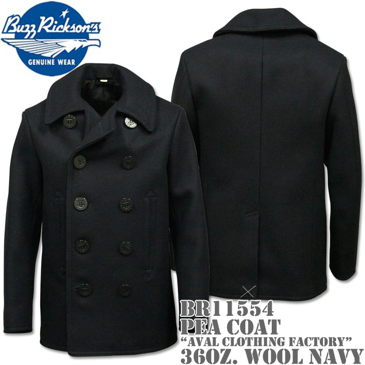 【2017年新入荷☆冬の定番コート!】BUZZ RICKSON'S(バズリクソンズ)Type PEA COAT 36oz Wool『NAVAL CLOTHING FACTORY』BR11554