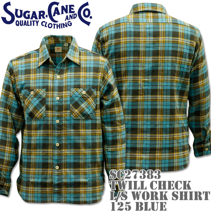 【2016年新入荷!】Sugar Cane(シュガーケーン)TWILL CHECK L/S WORK SHIRT SC27383-125 Blue