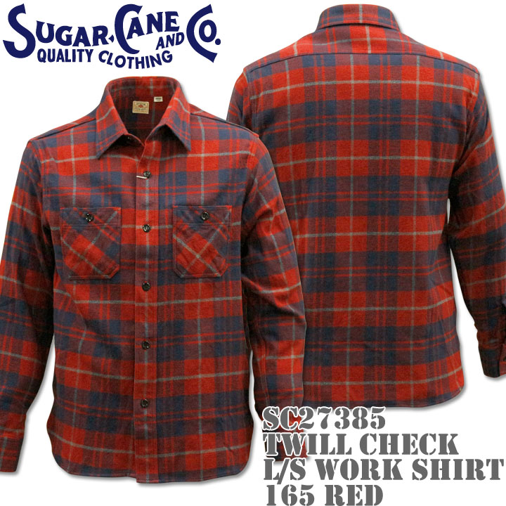 Sugar Cane(シュガーケーン)TWILL CHECK L/S WORK SHIRT SC27385-165 Red