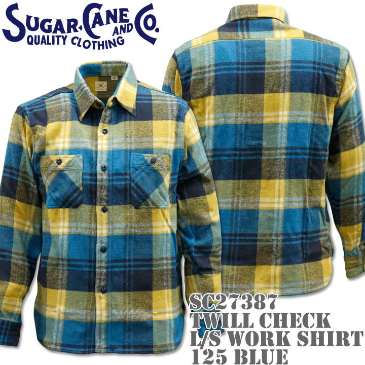 Sugar Cane(シュガーケーン)TWILL CHECK L/S WORK SHIRT SC27387-125 Blue