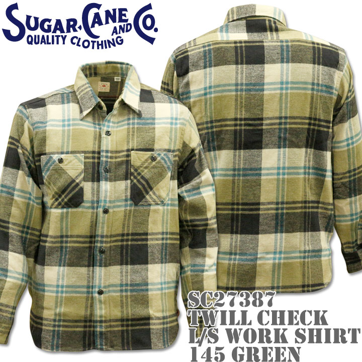 【2016年新入荷!】Sugar Cane(シュガーケーン)TWILL CHECK L/S WORK SHIRT SC27387-145 Green