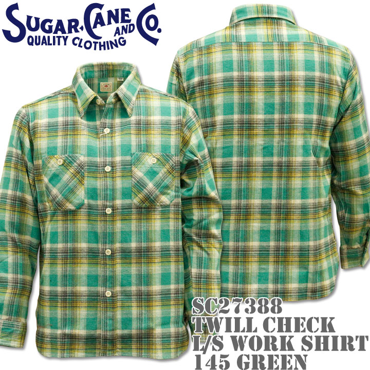 【2016年新入荷!】Sugar Cane(シュガーケーン)TWILL CHECK L/S WORK SHIRT SC27388-145 Green