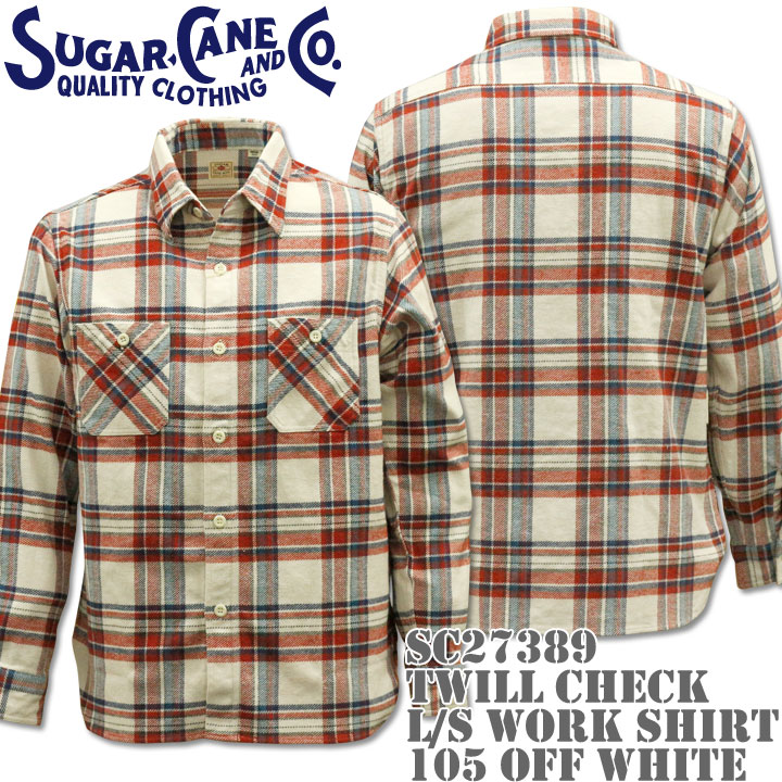 Sugar Cane(シュガーケーン)TWILL CHECK L/S WORK SHIRT SC27389-105 Off White