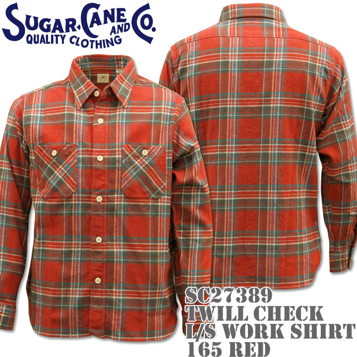 【2016年新入荷!】Sugar Cane(シュガーケーン)TWILL CHECK L/S WORK SHIRT SC27389-165 Red