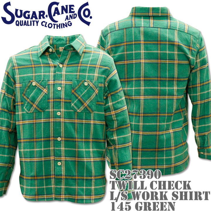 【2016年新入荷!】Sugar Cane(シュガーケーン)TWILL CHECK L/S WORK SHIRT SC27390-145 Green