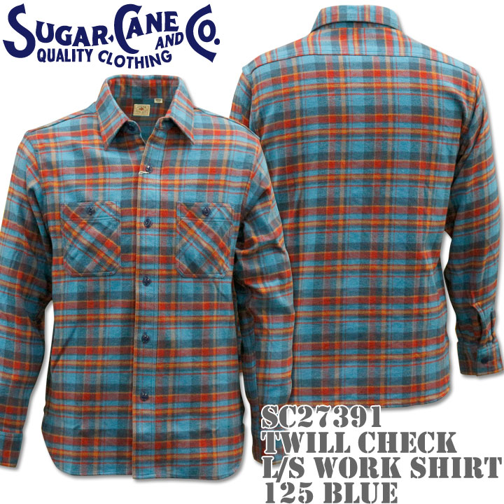 Sugar Cane(シュガーケーン)TWILL CHECK L/S WORK SHIRT SC27391-125 Blue