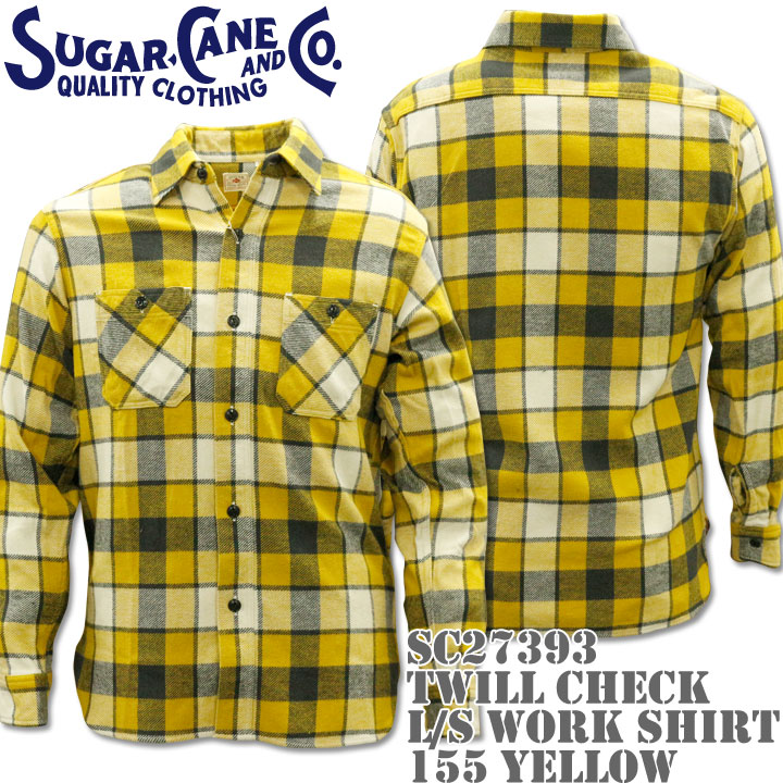 Sugar Cane(シュガーケーン)TWILL CHECK L/S WORK SHIRT SC27393-155 Yellow