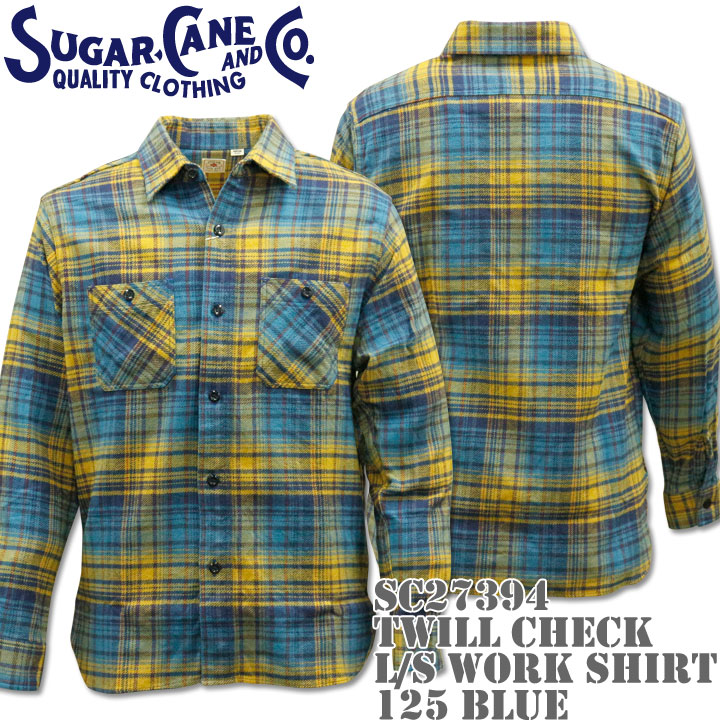 Sugar Cane(シュガーケーン)TWILL CHECK L/S WORK SHIRT SC27394-125 Blue
