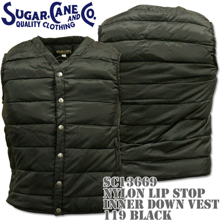 【2016年新入荷!】Sugar Cane(シュガーケーン)NYLON LIP STOP INNER DOWN VEST SC13669-119 Black