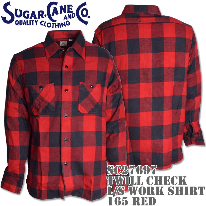 Sugar Cane(シュガーケーン)TWILL CHECK L/S WORK SHIRT SC27697-165 Red