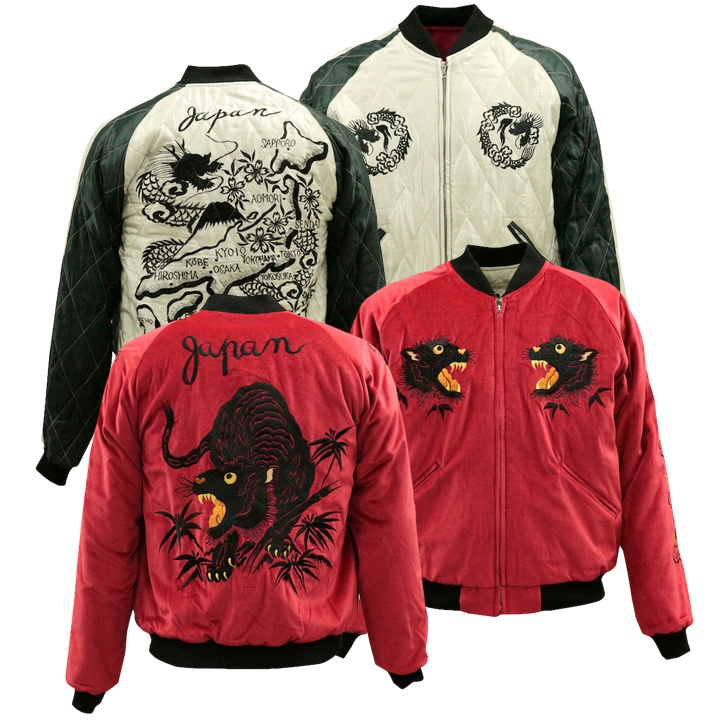 TAILOR TOYO(テーラー東洋)SOUVENIR JACKET(別珍スカジャン)『Black Tiger ×Japan Map』TT13839-165 Red/White