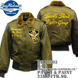 BUZZ RICKSON'S(バズリクソンズ)フライトジャケット B-10『ROUGH WEAR CLOTHING CO.』PATCH & PAINT 23rd FTR.SQ. BR10803