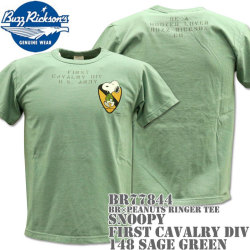 BUZZ RICKSON'S(バズリクソンズ)スヌーピーコラボTシャツ BR×PEANUTS RINGER TEE『SNOOPY FIRST CAVALRY DIV』BR77844-148 Sage Green