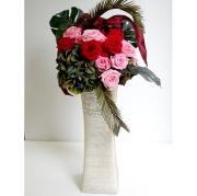 開店祝い 花  バラの祝い花 red & pink