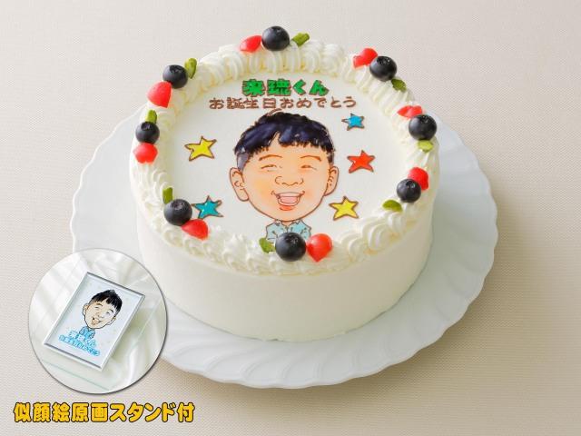 似顔絵ケーキ (6号18cm) フォトスタンド付 人物1体