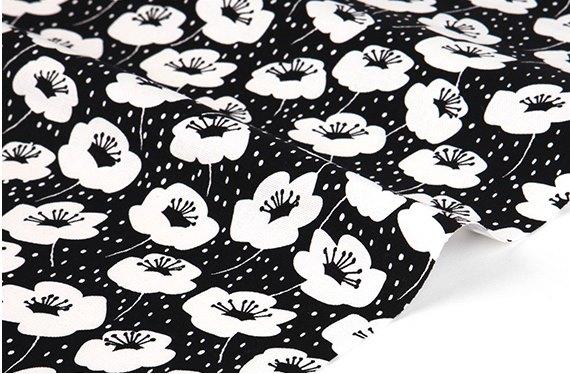 オックス生地カット販売(10cm単位)  ANEMONE-anemone  【生地・布】【カット販売】【花柄・モノクロ】