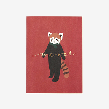 メッセージカード(縦) 01 Lesser panda 【グリーティング】【ラッピング】