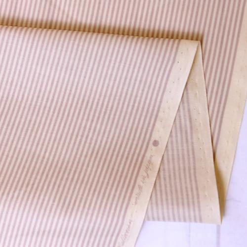 生地・布 ≪YUWA stripe - スモーキーパープル×キナリ ≫  コットン生地/幅108cm/シャーティング YUWA/有輪商店/YUWAコットン 【10cm単位販売】【メール便OK】
