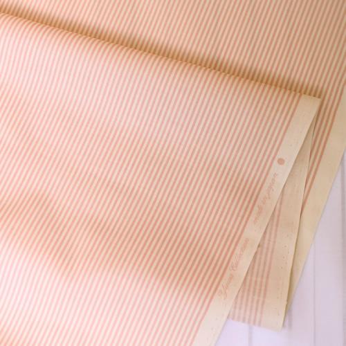 生地・布 ≪YUWA stripe - ピーチ×キナリ ≫  コットン生地/幅108cm/シャーティング YUWA/有輪商店/YUWAコットン 【10cm単位販売】【メール便OK】