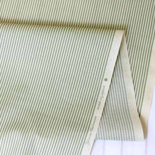 生地・布 ≪YUWA stripe - モスグリーン×キナリ ≫  コットン生地/幅108cm/シャーティング YUWA/有輪商店/YUWAコットン 【10cm単位販売】【メール便OK】