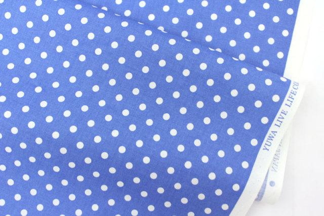 生地・布 ≪ YUWA dot - ロイヤルブルー ≫  コットン生地/幅108cm/シャーティング YUWA/有輪商店/YUWAコットン 【10cm単位販売】【メール便OK】