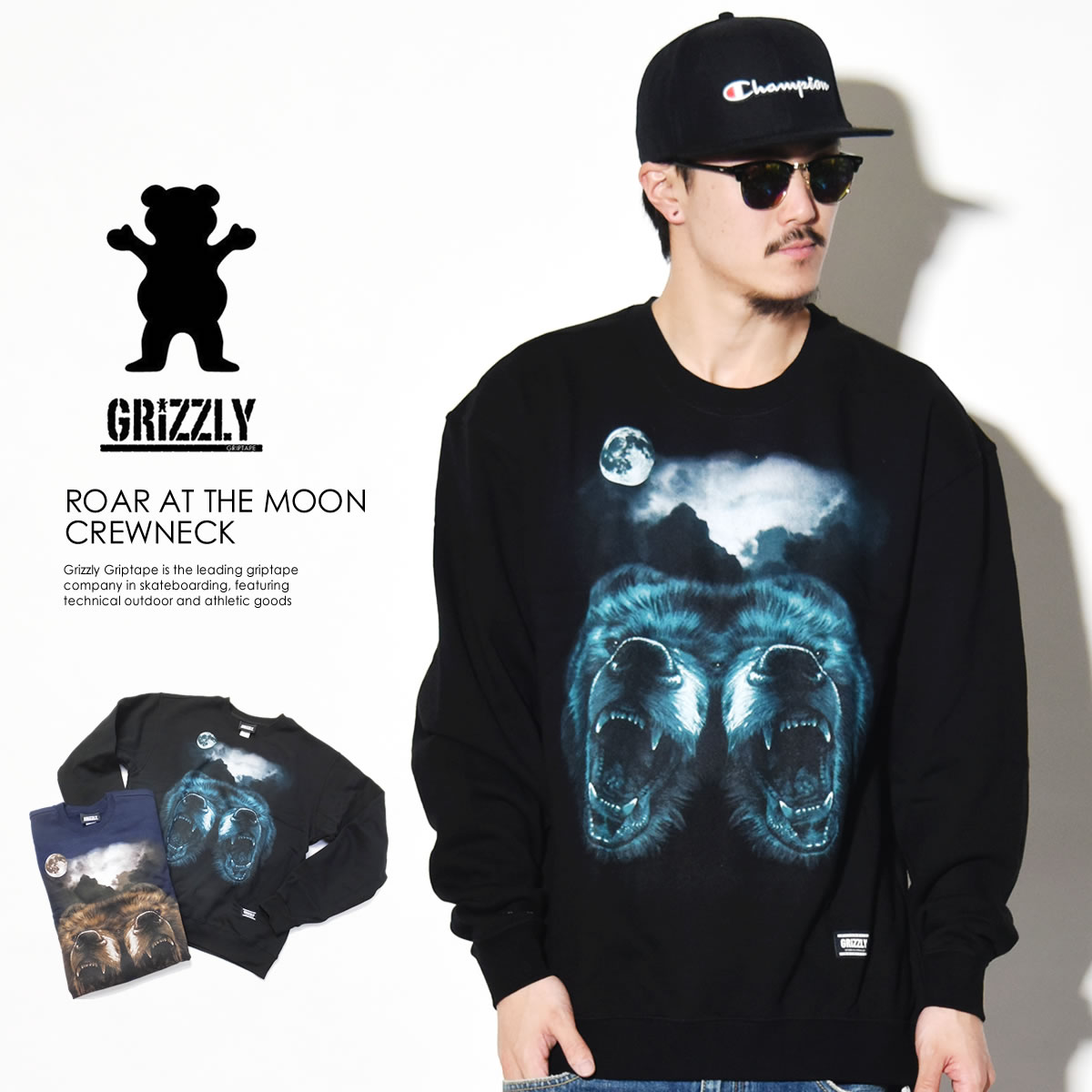 GRIZZLY GRIPTAPE グリズリー グリップテープ トレーナー ROAR AT THER MOON CREWNECK GMA1706P01 7V1137