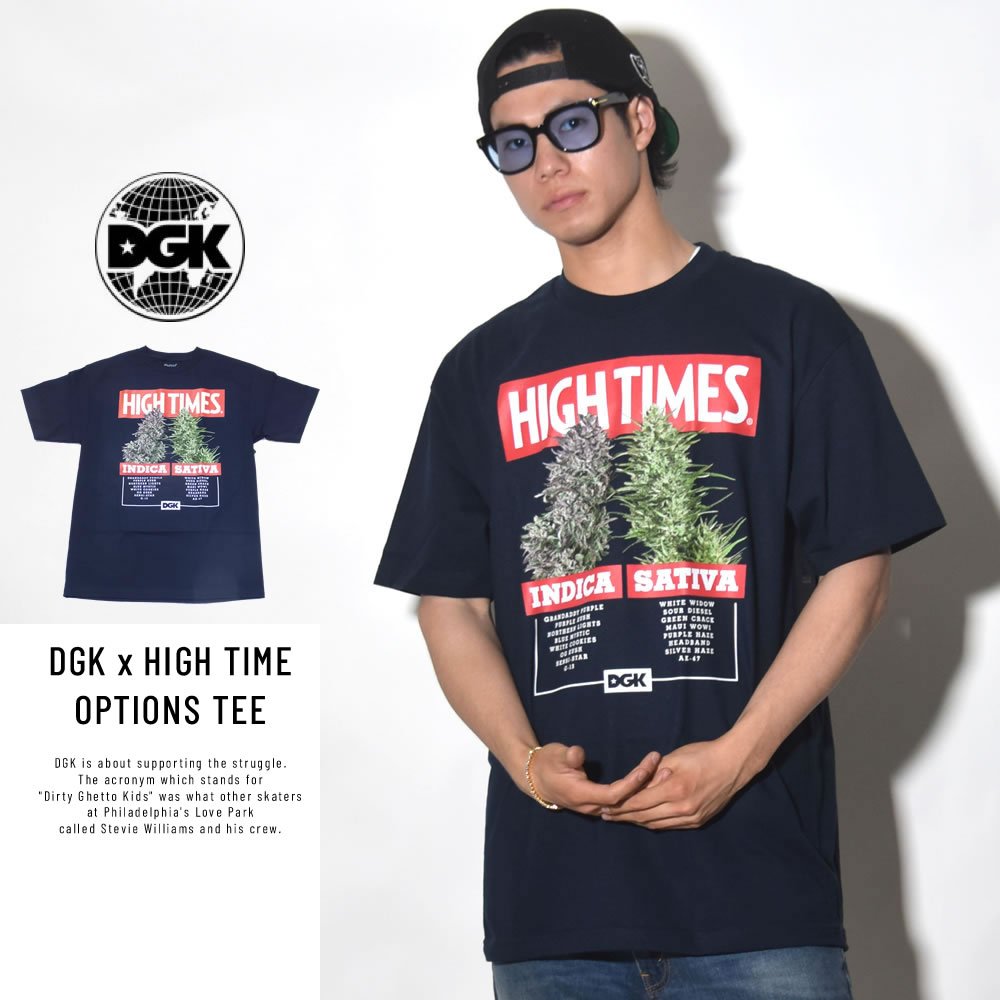 DGK ディージーケー 半袖Tシャツ DGK × HIGH TIMES OPTIONS TEE NAVY (PTM-1065)