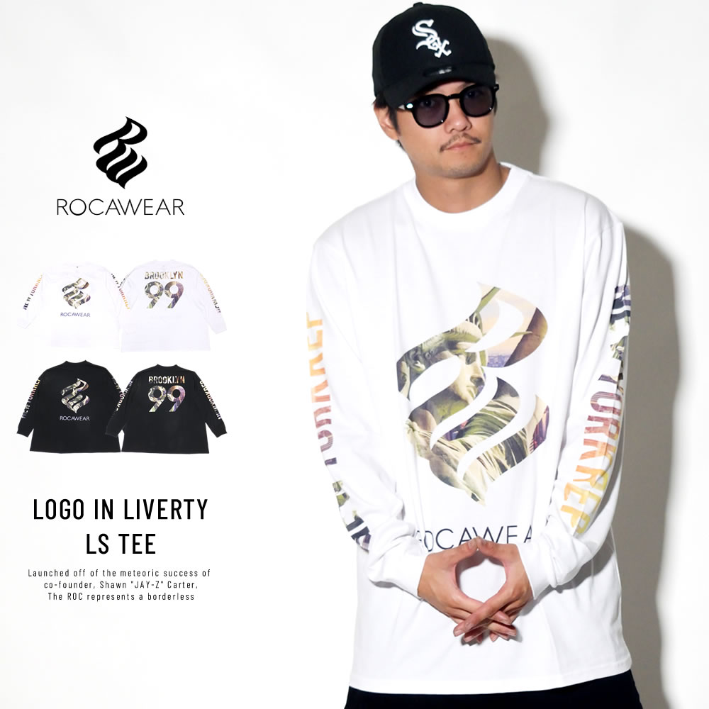 ROCAWEAR ロカウェア 長袖Tシャツ LOGO IN LIVERTY LS TEE RW183T01