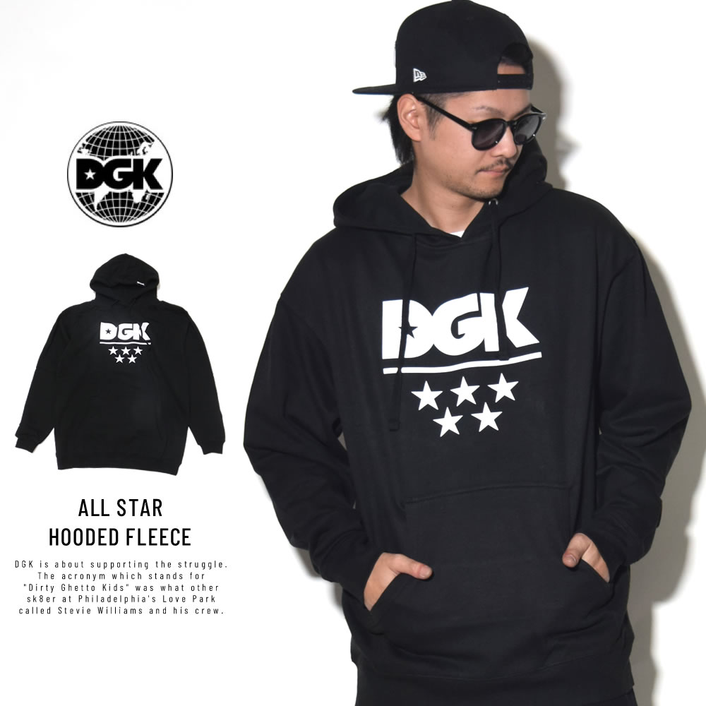 DGK ディージーケー プルオーバーパーカー ALL STAR HOODED FLEECE BLACK PFP-1020