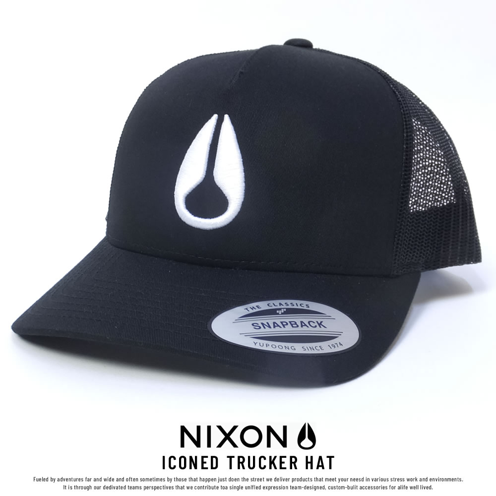 NIXON ニクソン メッシュキャップ ICONED TRUCKER HAT BLACK/WHITE (C1862005)