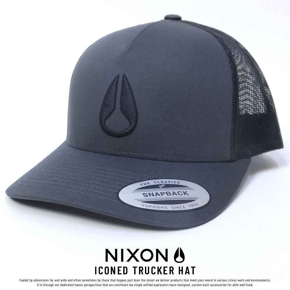 NIXON ニクソン メッシュキャップ ICONED TRUCKER HAT CHARCOAL/BLACK (C1862670)