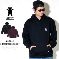 Grizzly Griptape プルオーバーパーカー OG BEAR EMBROIDERED HOODIE GMA1708P09