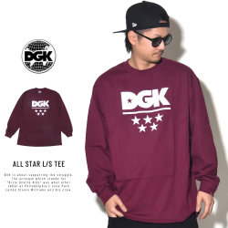 DGK ディージーケー 長袖Tシャツ ALL STAR L/S TEE BURGUNDY PTL-1027