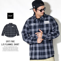 HUF ハフ 長袖シャツ SPIT FIRE L/S FLANNEL SHIRT BU00048