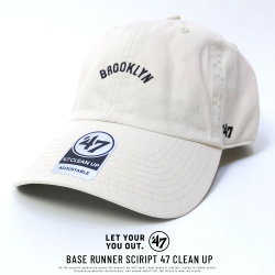 47BRAND フォーティーセブンブランド カーブバイザーキャップ BROOKLYN DODGERS BASE RUNNER SCIRIPT 47 CLEAN UP (BCDTN-BSRNS12GWS-NT00)