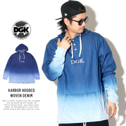 DGK ディージーケー 長袖Tシャツ HARBOR HOODED WOVEN DENIM CTHW-100