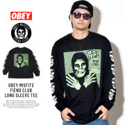 OBEY オベイ コラボ 長袖Tシャツ OBEY MISFITS FIEND CLUB LONG SLEEVE TEE 164902055