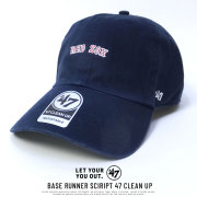 47BRAND フォーティーセブンブランド カーブバイザーキャップ REDSOX BASE RUNNER SCIRIPT 47 CLEAN UP (B-BSRNS02GWS-NY)