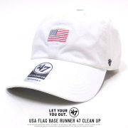47BRAND フォーティーセブンブランド カーブバイザーキャップ USA FLAG BASE RUNNER 47 CLEAN UP XS-BSRNR198GWS-WH