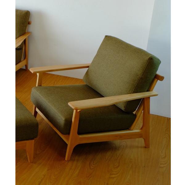 【送料無料】マンションのリビング最適 アルダー無垢材を使用した1人掛け木枠ソファ グリーン