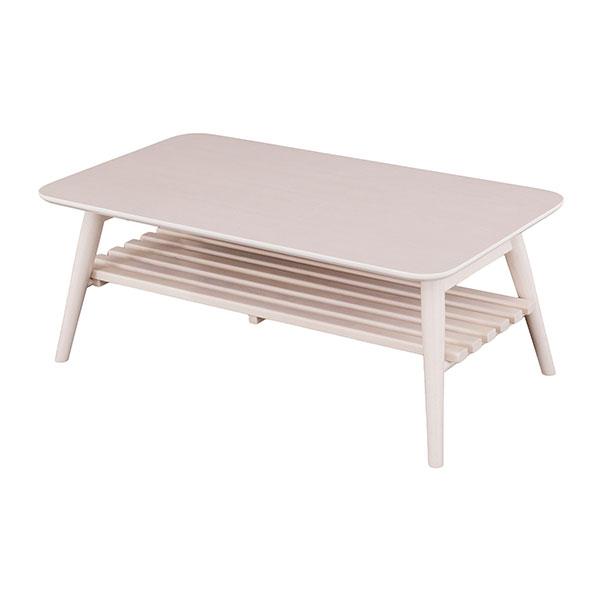 【送料無料】 フレンチカントリー 折り畳み式木製リビングテーブル 棚板付 幅90