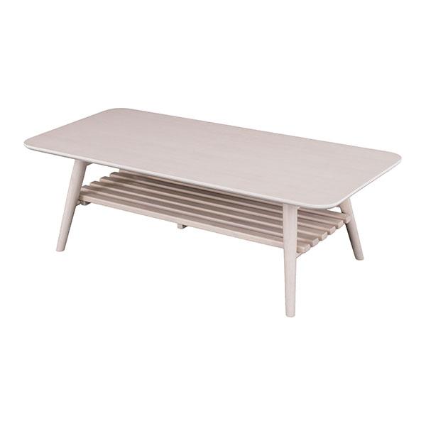 【送料無料】 フレンチカントリー 折り畳み式木製リビングテーブル 棚板付 幅110