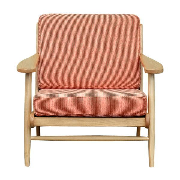 【送料無料】北欧デザイン オレンジの布製張地の木枠ソファ 1人掛け
