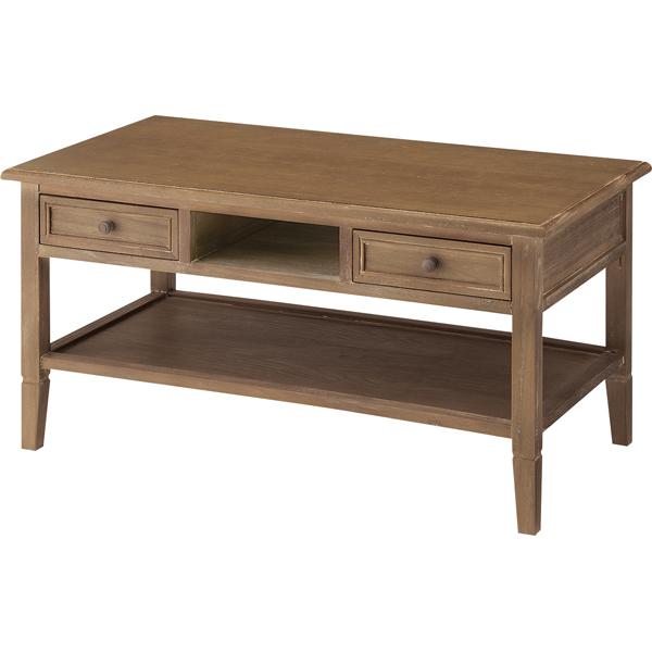 【送料無料】アンティークのセンターテーブル 幅90 桐材 引き出し付き ブラウン